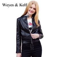 Weyes & Kelf Casual Zipper Women's Spring Jackets 2018 Spring Short Long Sleeve Pu Leather Coat Slim Bomber Jackets For Women