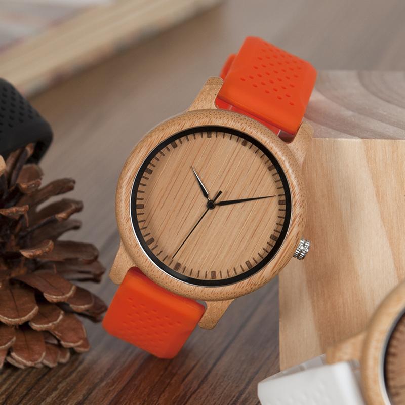 Zegarek drewniany Bobo Bird Color Silikon Orange B05 3