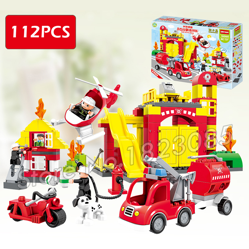 112pcs Town Fire Truck My First Fire Station Kit Model Building Blocks Bricks Kids Toys Compatible With Lego Duplo kazi fire department station fire truck helicopter building blocks toy bricks model brinquedos toys for kids 6 ages 774pcs 8051