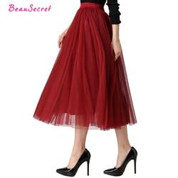 2018 Spring & Summer Fashion Faldas Korean Style 8 M Big Swing Maxi Skirts Womens Jupe High Waist Tutu Adult Long Tulle Skirt