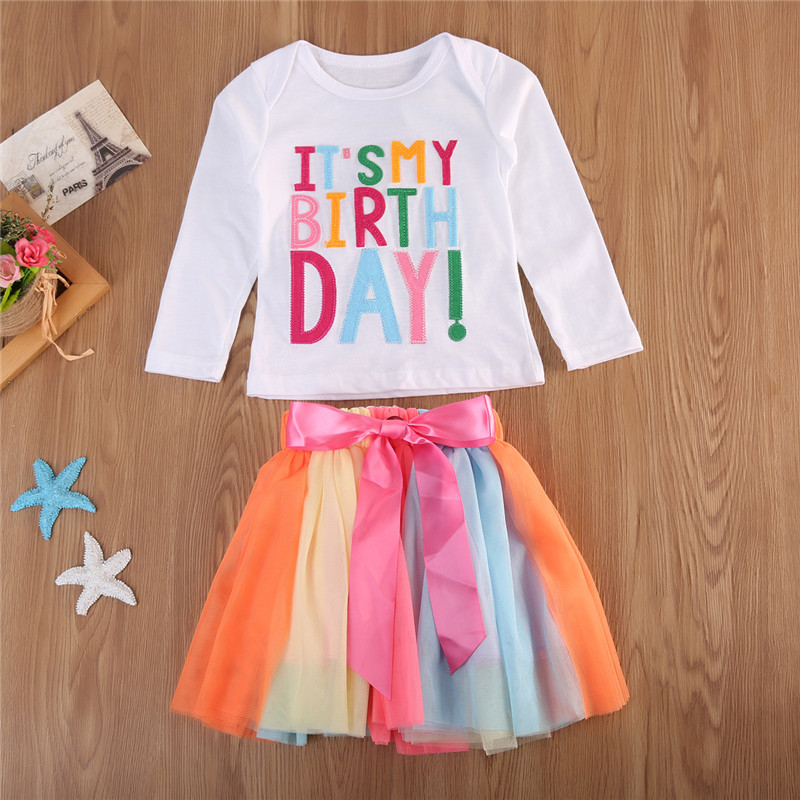CANIS Kids Clothing Set Toddler Girl Its My Birthday T Shirt Rainbow Bowknot Tutu Skirt 2pcs Princess Outfits Children Clothes