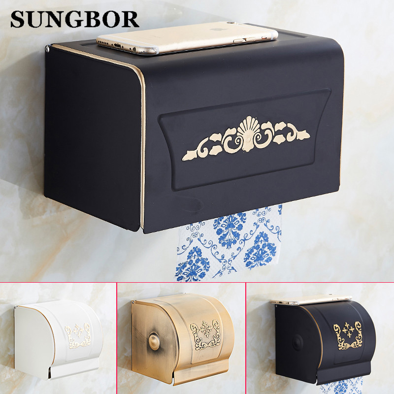 Free Shipping Antique Toilet Paper Holder Wall Mounted Waterproof Roll Paper Tissue Box Brass Bathroom Accessories GJ-5007H free shipping jade & brass golden paper box roll holder toilet gold paper holder tissue box bathroom accessories page 6