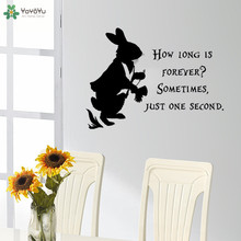 Alice In Wonderland Vinyl Sticker How Long Is Forever Sometimes Just One Second Quote Wall Decal Rabbit Pattern QQ510