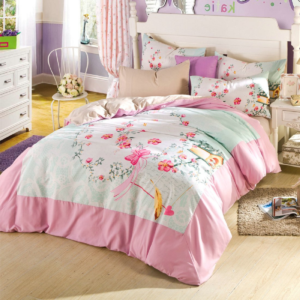 Hot pink flower bedding - Hot Pink Flower Bedding Aliexpress Com Buy New Arrival 2015 Pink Flower Girl Comforter Bedding