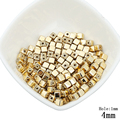 4MM Gold Silver Plated Two Hole Square Seed Beads 200pcs/lot Wholesale Small Plastic Ball European Beads For DIY Jewelry Making