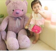 huge lovely lavender teddy bear doll big plush purple teddy bear toy with bow gift about 120cm