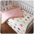 Promoção! 3 PCS Kitty Mickey bebê berço cama definir 100% algodão cortina berço set, (Capa de Edredon + Folha + fronha)