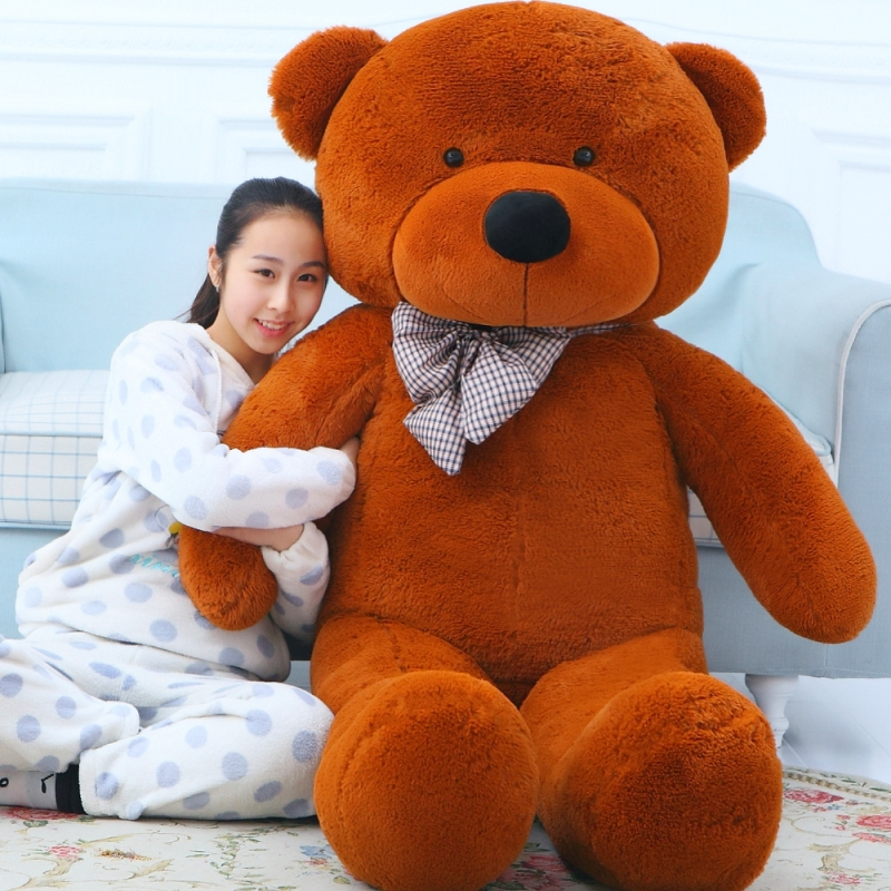 200CM big giant teddy bear big brown pink animals plush stuffed toys life size kid dolls pillow girls toy gift 2018 New arrival 200cm stuffed animals big size simulation crocodile kawaii plush toy cushion pillow toys for kids free shipping