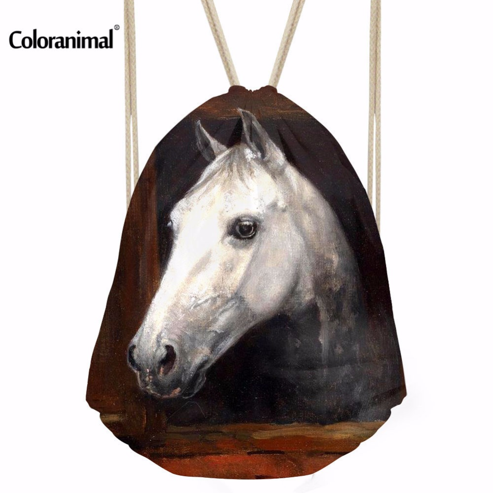 Coloranimal Crazy 3D Horse Print Boys Girls Daily Drawstring Backpack String Soft Sackpack Bag for Fitness String Shoulder Bags свитшот print bar crazy