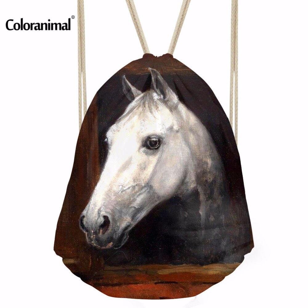 Coloranimal Crazy 3D Horse Print Boys Girls Daily Drawstring Backpack String Soft Sackpack Bag For Fitness String Shoulder Bags