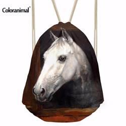Coloranimal Crazy 3D Принт лошади для мальчиков и девочек ежедневно шнурок рюкзак строка мягкая Sackpack Сумка для фитнес строка сумки на плечо