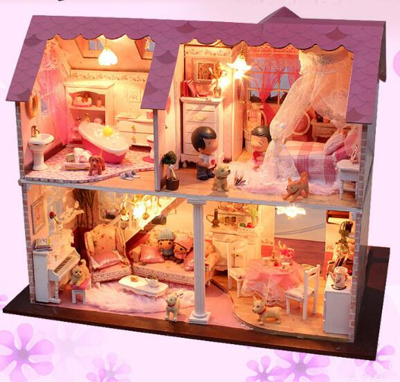 A003 Big size diy wooden dollhouse villa doll house miniatures for decoration Building Model Furniture Toys 1 12 dollhouse miniatures furniture re ment refrigerator hearth integral kitchen lampblack machine