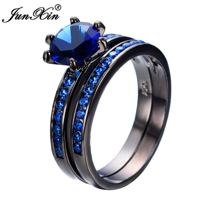 junxin charming blue crystal zircon ring sets vintage wedding rings for men and women black gold - Womens Black Wedding Ring Sets