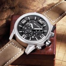 MEGIR nouveau mode casual quartz montre hommes grand cadran étanche chronographe releather montre-bracelet montres livraison gratuite 3010