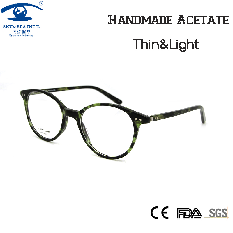556c26faf609 SKY SEA OPTICAL Vintage Round Women Optical Eyeglass Frame Green Handmade  Acetate Clear Fashion Glasses Spectacles Eyewear-in Eyewear Frames from  Women s ...