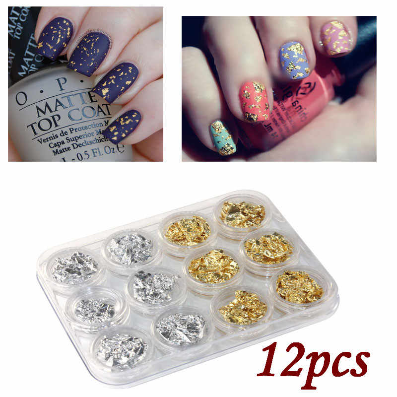 Spangle Glitter 12PC Nail Art GD SL Paillette Flake Chip Foil DIY Acrylic UV Gel Pager Decoration DIY Time Gear 30# dropship