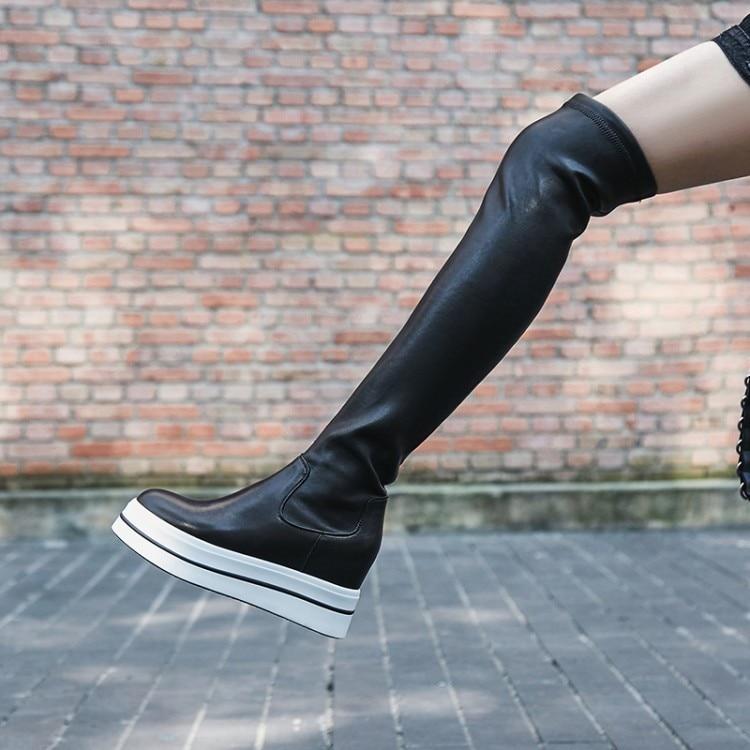 597014a43 Invierno Negro Las Alto Mujeres Tacón Zapatos Moda 2019 La Stretch De  Genuino Plataforma Rodilla Cuero  zorssar  Nueva Botas Por Encima Mujer  txRgqxTw