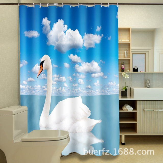 White Swan 3D Printing Waterproof Polyester Shower Curtain Unique Curtains For Bathroom