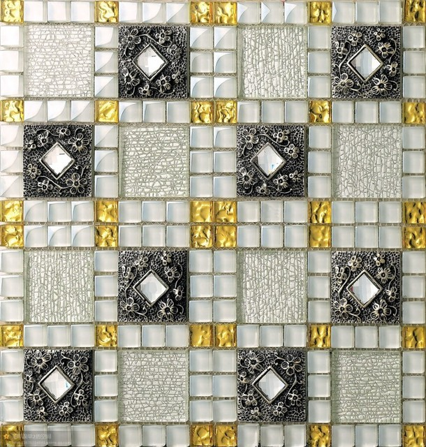 new arrival crystal glass mosaic tiles resin embossing flower