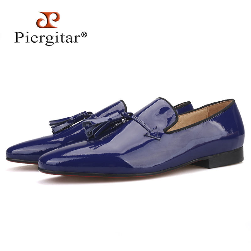 2019 New Royal blue and Black Patent Leather men tassel shoes Fashion Party and Wedding men loafers plus size Men's casual shoes