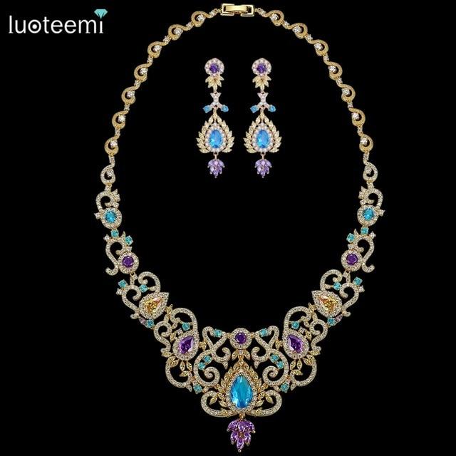 LUOTEEMI 2017 Big Luxurious Choker Bohemia Style Shing Clear Multi Cubic Zircon Necklace Gold Plated Bridal Wedding Jewelry