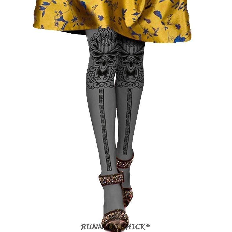 Black Lotus Flower Printing Pantyhose Women Fashion Autumn And Spring