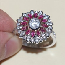 Fashion New 925 Sterling Silver Fluorescent Color Series Daisy Simulated Diamond Cubic Zirconia Ring Wedding Jewelry For Women