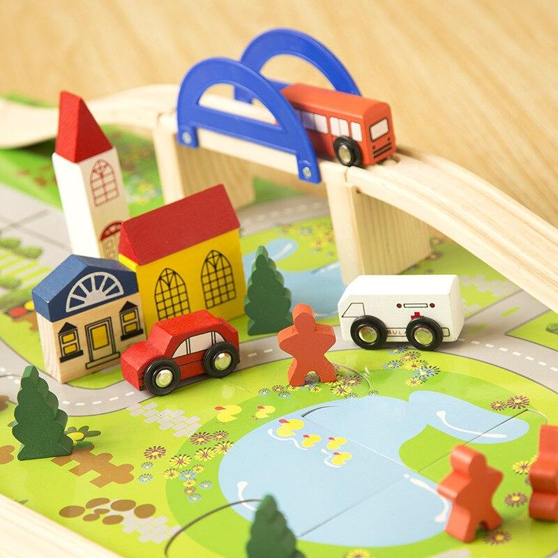 купить Children wood rail overpass block toy creative cartoon traffic scene building blocks educational toy for children birthday gift по цене 1679.54 рублей