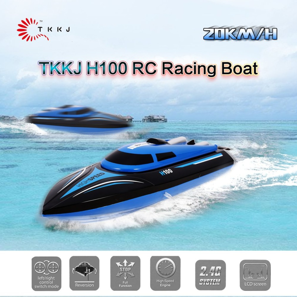 H100 RC Boat 2.4G High Speed Racing 20km/h Remote Control Boat 180 Degree Flip LCD Screen Cooling System Speedboat Kids Gift Toy цена 2017