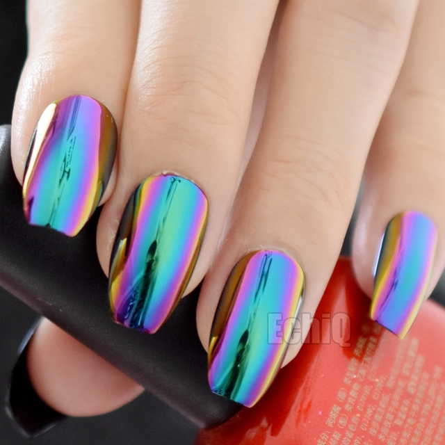 Chameleon Color Metallic Press On Nails Medium Flat Coffin Acrylic Nail Tips Mirror Faux Ongles With Glue Sticker Z905 In False From Beauty Health
