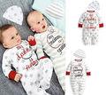 2016 Hot-venda Do Bebê Da Menina do Menino Múmia/Papai Tira Estrela Letra Impressa Chapéu Romper Sleepsuit Bebê Recém-nascido Outfits conjunto