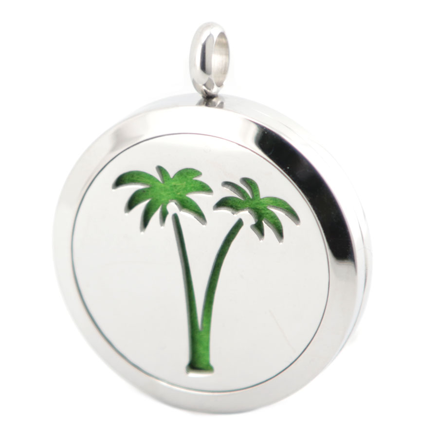 10pcs 30mm Round Silver Coconut Tree Aromatherapy Oils Stainless Steel Perfume Diffuser Locket Necklace Pendant