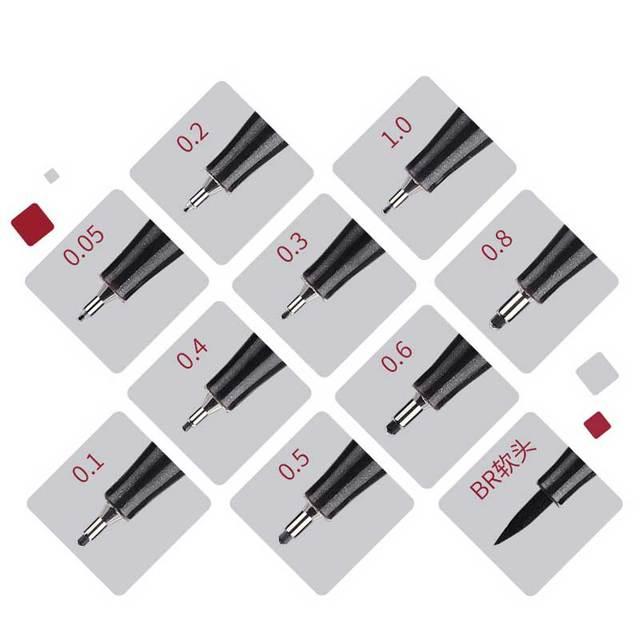 10Pcs/set Pigment Liner Micron Ink Marker Pen 0.05 0.1 0.2 0.3 0.4 0.5 Brush Tip Black Fineliner Sketching Manga Drawing Pen 2