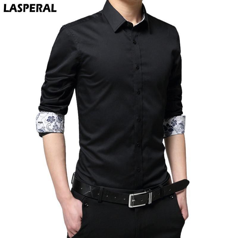LASPERAL 2018 Mens Shirts Business Long Sleeve Turn-down Collar 100% Cotton Male Shirt Slim Fit Popular Designs Big Size 4XL 5XL