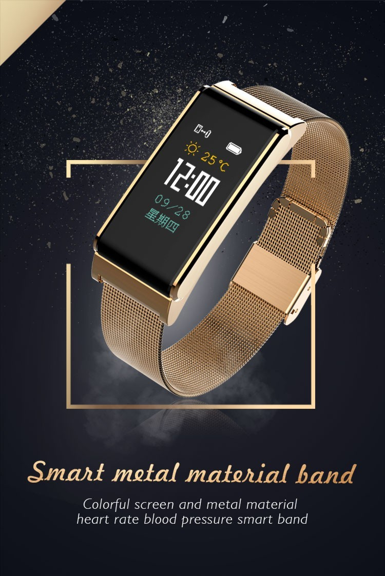 Bracelet intelligent d'application de montres de mesure de presse de sang en métal Smartband d'android Ios avec le brassard de vélo de course de fréquence cardiaque en français coréen