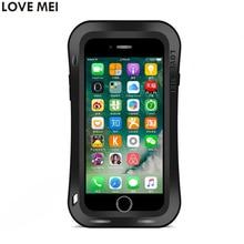 Для iphone 7 plus case противоударный водонепроницаемый case тонкая талия lovemei закаленное стекло жесткий алюминиевый металлической крышкой для iphone7 7 плюс