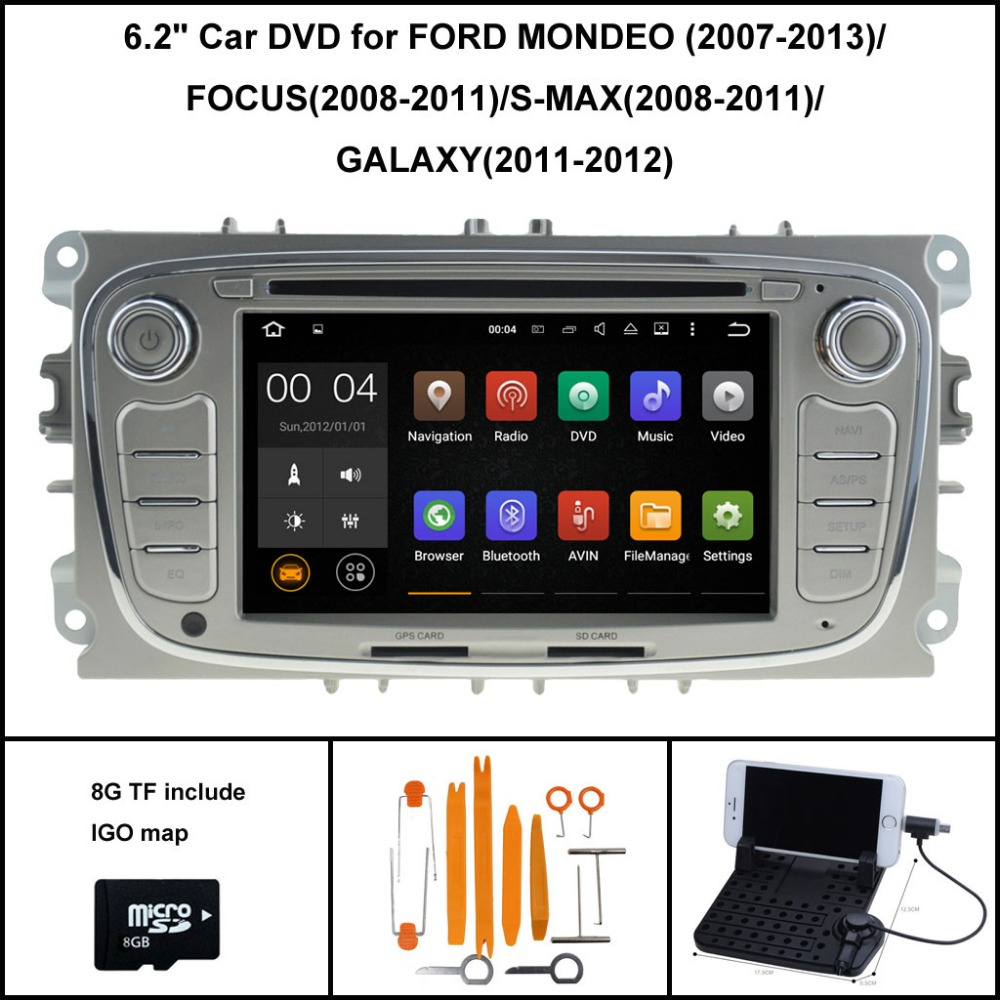 Quad Core Android 7.1 CAR DVD Player for FORD MONDEO FOCUS S-MAX GALAXY RADIO +CAPACTIVE SCREEN WIFI/3G 16GB flash