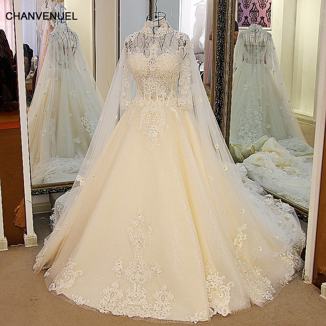 LS32101 Luxury Bling Bridal Gowns Backless High Neck Ball Gown Tulle ...