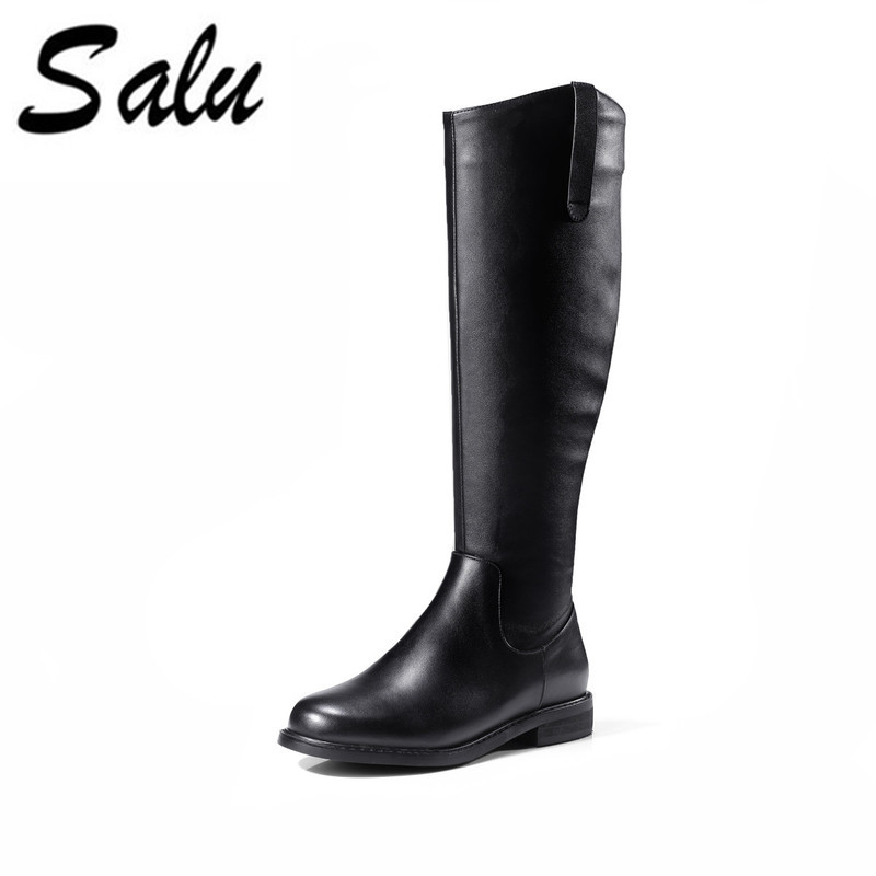 Salu New genuine leather high boots shoes woman winter sexy square heels round toe zip black
