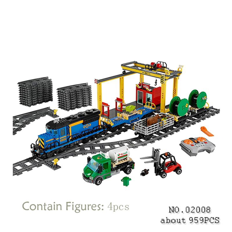 цена Compatible With Lego City 60052 Model 02008 959pcs Explorers Cargo Train Figure building blocks Bricks toys for children