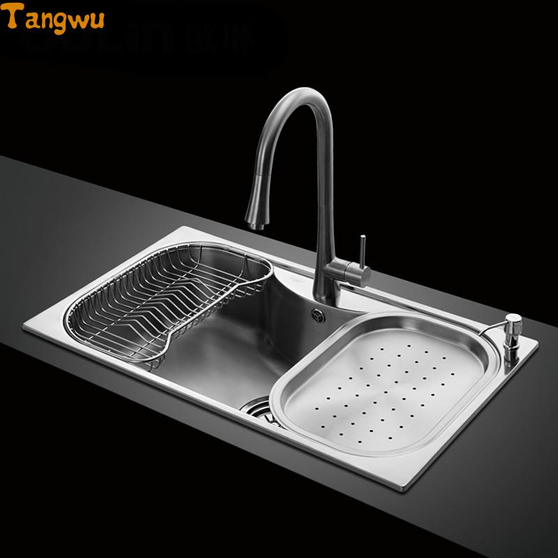 Kitchen Sinks Free shipping sink single trough stainless steel sink kitchen dishes wash basin