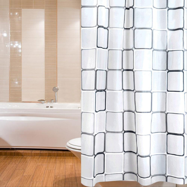 180cm 200cm Large Black White Square Waterproof Mouldproof Toilet Shower Curtain Home Bathroom Curtains