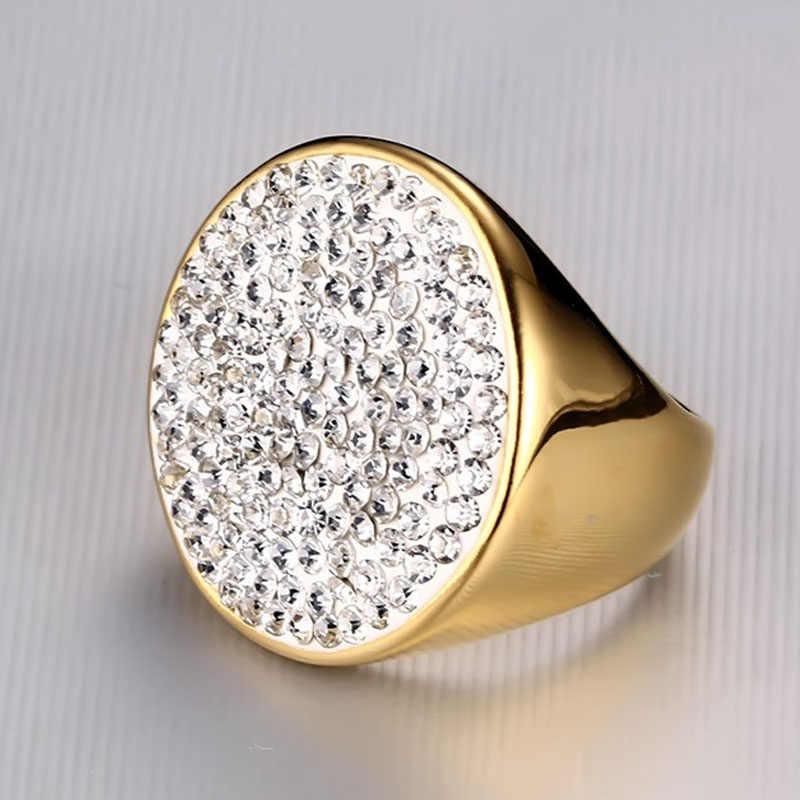 Meaeguet золотого цвета роскошное проложенное обручальное кольцо с кристаллами для женщин из нержавеющей стали большое массивное кольцо ювелирные изделия Bague Femme