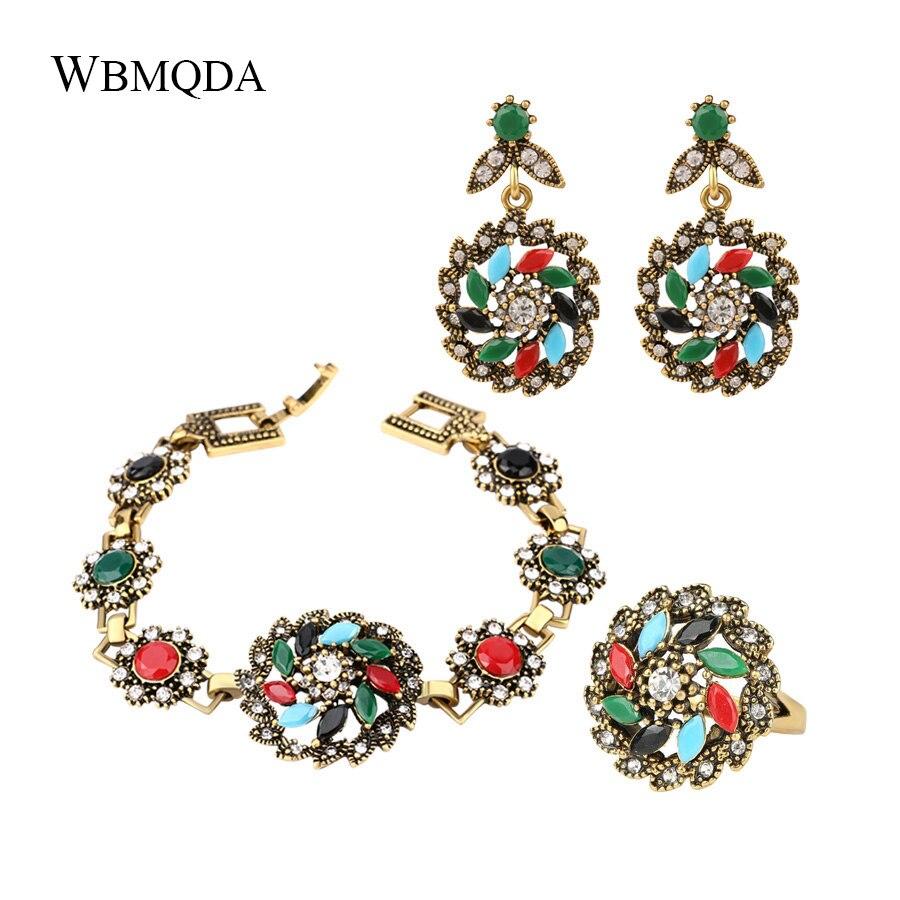 Vintage Turkish Jewelry-Sets Earrings Bracelet Windmill-Ring Flower Women Gold-Color