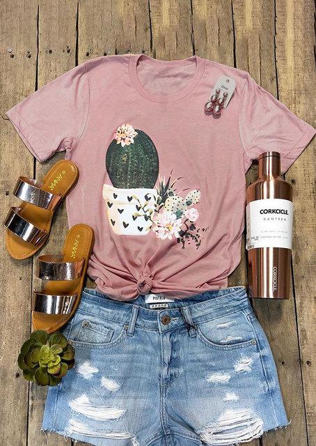 Pink Floral Cactus T-Shirt