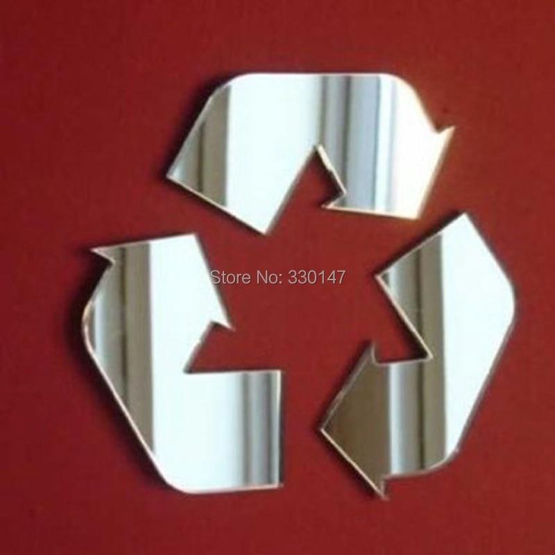 Экологический логотип Предупреждение Марк двери знак зеркало Наклейки акриловые маркировки 3D DIY Главная Ремесло для общественных местах 250...