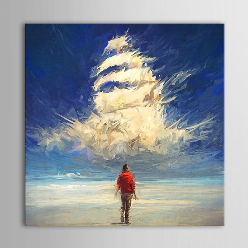 Hand Painted Landscape Canvas Oil Painting People Noah' Ark Wall Art