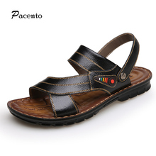 PACENTO Design Brand Casual Men Beach Sandals 2017 High Quality Summer Leather Men Sandals Breathable Slippers Chaussure Homme
