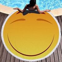 Multiform Smile Emoji Microfiber Round Beach Towel Geometry Toalla Microfibra Mandala Beach Towel Serviette De Plage Ronde