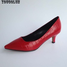 YOUGOLUN Office High Heels(6cm)Women Elegant Genuine Leather Pumps Sexy Woman Mid Heel Fashion Black Red WHite Pointed toe shoes
